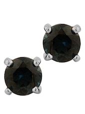Silver Studs With London Blue Topaz  Stones - Voylla