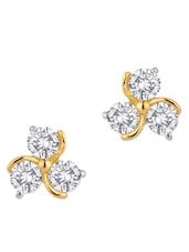 Gold Plated Stud Earrings With Sparkling Swarovski Crystal - Voylla