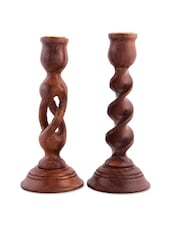 Wood Carving Candle Stand Set Of 2 - Woodpeckers