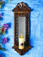 Wood Carving Mirror Wall Candle Stand - Woodpeckers