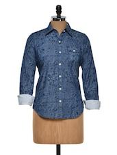 Blue Paisley Cotton Shirt - Fast N Fashion