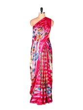 Glamorous Pink Printed Art Silk Saree - Saraswati