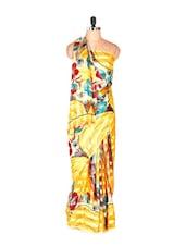Graceful Yellow Printed Art Silk Saree - Saraswati