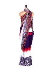 Glamorous White And Blue Printed Art Silk Saree - Saraswati
