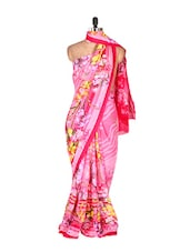 Beautiful Pink Floral Printed Art Silk Saree - Saraswati