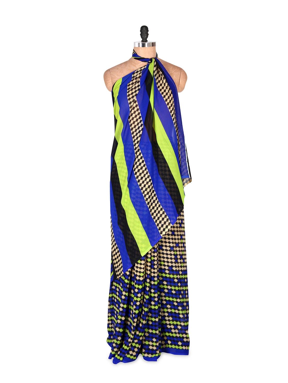 Elegant Blue Art Silk Saree With Matching Blouse Piece - Saraswati