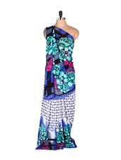 Beautiful Blue Floral Printed Art Silk Saree With Matching Blouse Piece - Saraswati