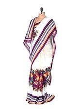 Gorgeous Floral Printed Art Silk Saree With Matching Blouse Piece - Saraswati