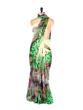Abstract Printed Green Art Silk Saree With Matching Blouse Piece - Saraswati
