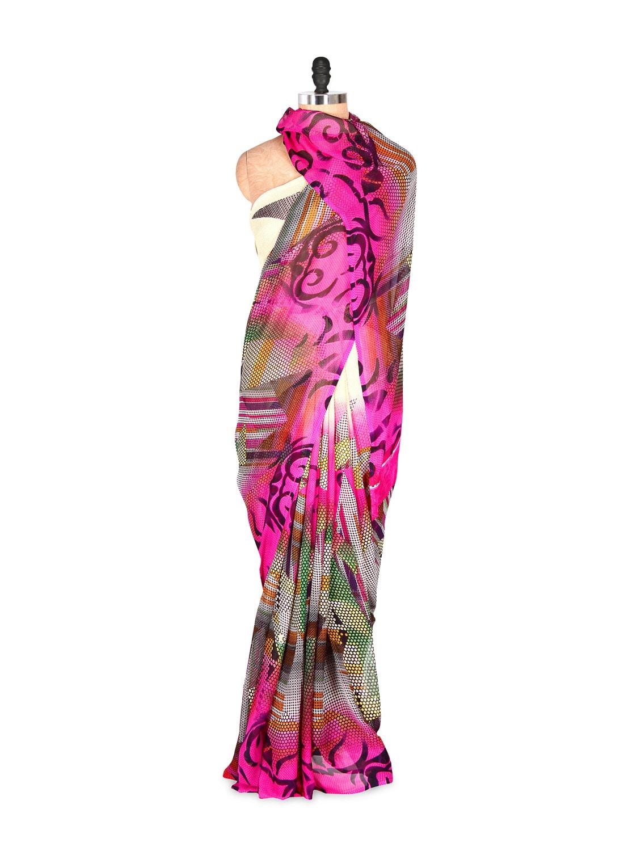 Pink Abstract Printed Art Silk Saree With Matching Blouse Piece - Saraswati