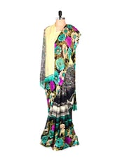 Gorgeous Floral Printed Green Art Silk Saree With Matching Blouse Piece - Saraswati