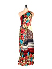 Red And Black Floral Printed Art Silk Saree With Matching Blouse Piece - Saraswati