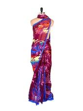 Bright Abstract Printed Art Silk Saree With Matching Blouse Piece - Saraswati