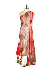 Abstract Printed Art Silk Saree With Matching Blouse Piece - Saraswati