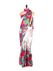 Amazing Floral Printed Art Silk Saree With Matching Blouse Piece - Saraswati