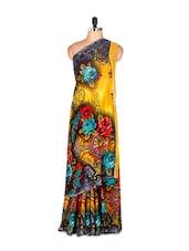 Beautiful Floral Printed Art Silk Saree With Matching Blouse Piece - Saraswati