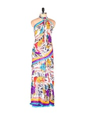 Amazing Floral Printed Art Silk Saree With Matching Blouse Piece - Saraswati