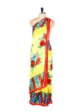 Floral Printed Yellow Art Silk Saree With Matching Blouse Piece - Saraswati