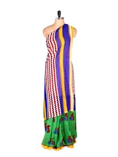 Graceful Yellow And Blue Printed Art Silk Saree With Matching Blouse Piece - Saraswati