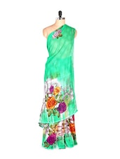 Rosette Printed Green Art Silk Saree With Matching Blouse Piece - Saraswati