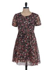 Black Floral Printed Short Sleeve Dress - Mind The Gap