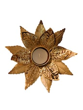 Small Flower In Gold Color Candle Holder - The Yellow Door