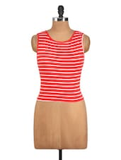 High And Low Coral And White Striped Top - Nineteen