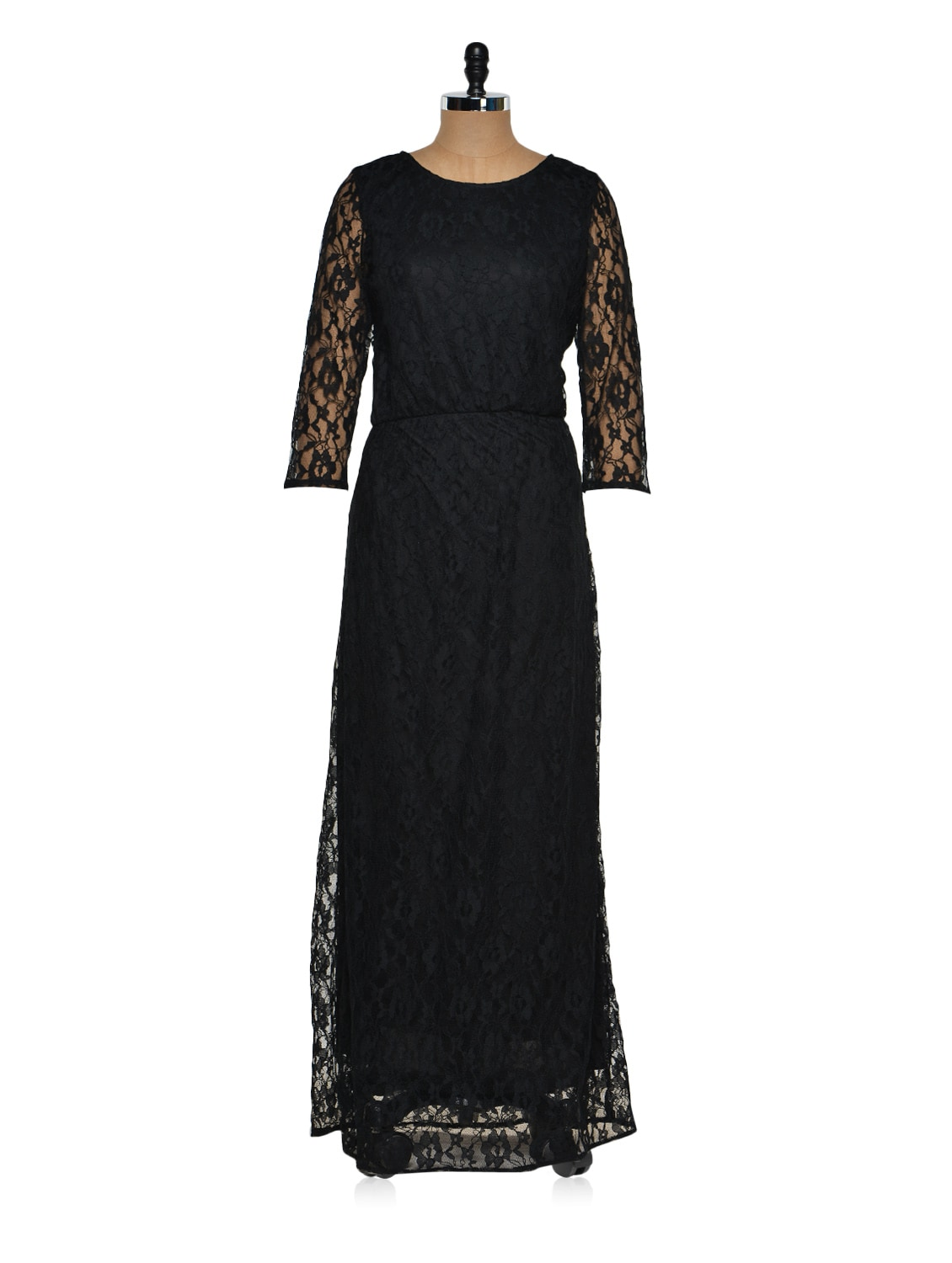 Black Lace Maxi Dress - Purys
