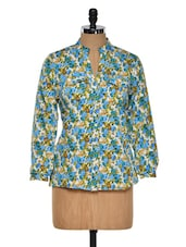 Blue Tone Floral Polyester Top - Purys