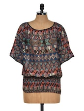 Tribal Print Polyester Top - Purys