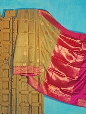 Beige And Pink Tussar Silk Saree - KAASI