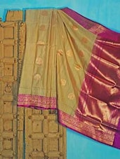 Beige And Purple Tussar Silk Saree - KAASI