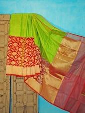 Green And Red Silk Saree - KAASI