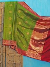 Green And Red Benarsi Net Saree - KAASI