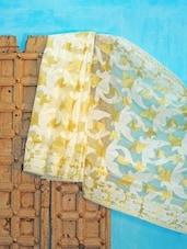 Off-white And Light Yellow Benarsi Net Saree - KAASI