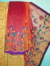 Pink And Orange Benarsi Net Saree - KAASI