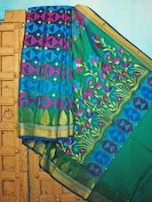 Blue, Green And Pink Benarsi Net Saree - KAASI