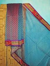 Blue And Red Benarsi Net Saree - KAASI