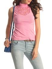 Pink Turtle Neck Lace Top - PrettySecrets