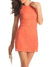 Orange Back Cut Out Lacey Dress - PrettySecrets
