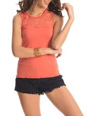 Orange Floral Lace Top - PrettySecrets