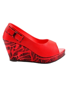 Red Peep Toe Wedges With A Bow Trim - Grafion