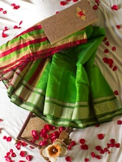 Parrot Green Saree With Striped Aanchal - Cotton Koleksi