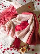 Traditional Red And White Half And Half Saree - Cotton Koleksi