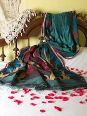Traditional Teal Saree With Swarnalata Aanchal - Cotton Koleksi