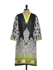 Black, White And Green Printed Kurta - Kaccha Taanka