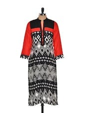 Black, White And Red Printed Kurta - Kaccha Taanka
