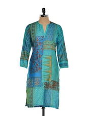 Green And Blue Printed Kurta - Kaccha Taanka
