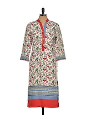 Multi-coloured Floral Printed Kurta - Kaccha Taanka