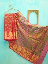 Red And Green Leaf Patterned Benarsi Net Saree - KAASI